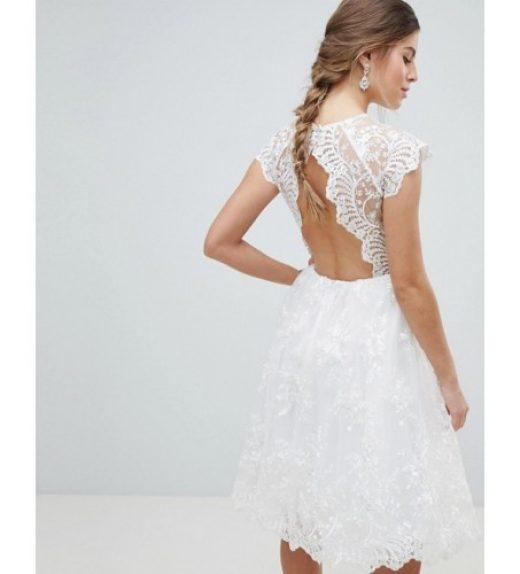 6447362b87 Chi Chi London csipke rövid menyasszonyi ruha, esküvő, csipke hátnélkül